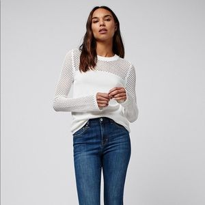 Topshop pointelle panel sweater in white